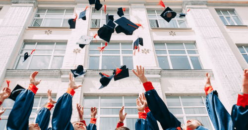 uni students throwing their graduation caps in the air