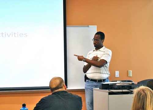 Deaf role model Dr Hill teaching